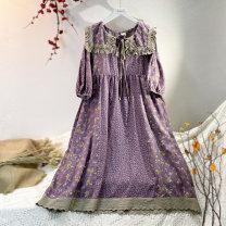 Dress Spring 2021 Average size longuette singleton  Long sleeves Sweet Doll Collar Loose waist Broken flowers A-line skirt routine Type A hemp Mori