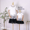 Parent child fashion white Women's dress female Grape girl 90cm, 100cm, 110cm, 120cm, 130cm, 140cm, 150cm, 160cm, mom s, mom m, mom L, mom XL, mom XXL, mom 3XL, mom 4XL, mom 5XL summer fresh routine Solid color skirt cotton 40. M, l, s, increase XXXL, XXL, XXXL Cotton 75% other 25% other
