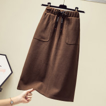 Women's large Spring 2021 Brown, black L [recommended 100-110 kg], XL [recommended 110-130 kg], 2XL [recommended 130-150 kg], 3XL [recommended 150-170 kg], 4XL [recommended 170-190 kg], 5XL [recommended 190-210 kg] skirt singleton  commute easy moderate Solid color Korean version other Other / other