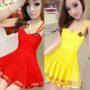 Dress Summer of 2018 White, yellow, red, black, pink, rose S,M,L,XL Short skirt singleton  Sleeveless commute V-neck middle-waisted Solid color Socket Big swing routine camisole 18-24 years old Type A other Korean version Lotus leaf, open back, wave, gauze net Night dress looks sexy and skinny other