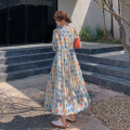 Dress Summer 2021 Picture color S,M,L,XL singleton  Long sleeves commute V-neck High waist Solid color zipper A-line skirt routine 25-29 years old Type A Other / other ZB035A6108#04 organza