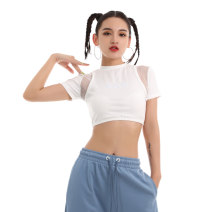 T-shirt milky white S,M,L Summer 2020 Short sleeve Self cultivation Super short routine street polyester fiber 86% (inclusive) -95% (inclusive) 18-24 years old youth Letters, solid, stitching BOUNCING ACE Stitching, mesh, embroidery, hollowing out Europe and America