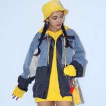 short coat Autumn of 2019 M blue Long sleeves routine routine singleton  easy street routine zipper letter 18-24 years old 96% and above Stitching, printing cotton cotton