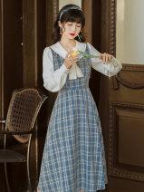 Dress Spring 2021 lattice S,M,L,XL longuette singleton  Long sleeves commute Doll Collar High waist lattice zipper A-line skirt shirt sleeve Type A Other / other literature Button, button