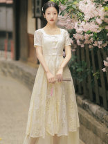 Dress Summer 2021 Light apricot S,M,L,XL Mid length dress Two piece set Short sleeve commute square neck High waist Solid color A-line skirt Type A literature Gouhua hollow, button