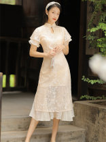 cheongsam Summer 2021 S,M,L Picture color Short sleeve long cheongsam grace No slits daily Round lapel Solid color 18-25 years old Embroidery