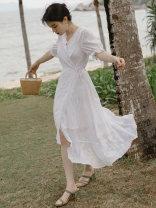 Dress Summer 2021 white S,M,L Mid length dress singleton  Short sleeve Sweet High waist Solid color zipper Irregular skirt puff sleeve Type A Lace, lace