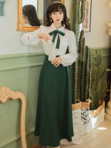 Fashion suit Summer 2021 S,M,L,XL White top + black skirt, white top + green skirt Other / other