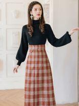 Fashion suit Autumn 2020 S,M,L,XL Black top + plaid skirt Other / other