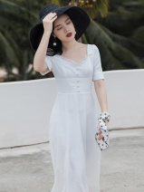 Dress Summer 2021 white S,M,L longuette singleton  Short sleeve commute square neck High waist Solid color zipper A-line skirt Type A Other / other lady Ruffles, buttons