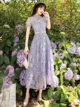 Dress Summer 2021 Purple, apricot S,M,L Mid length dress singleton  Short sleeve commute stand collar High waist Solid color Single breasted A-line skirt puff sleeve Type A Retro Hollowed out, stitched, strapped, button