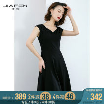 Dress Winter of 2019 black S M L XL Mid length dress singleton  Sleeveless commute V-neck middle-waisted Solid color zipper A-line skirt other 35-39 years old Jiafen Ol style 91408E 51% (inclusive) - 70% (inclusive) nylon Same model in shopping mall (sold online and offline)