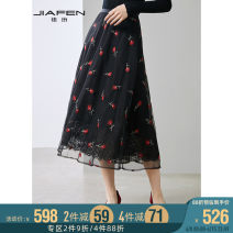skirt Autumn 2020 S M L XL Black flowers Mid length dress commute Natural waist Fluffy skirt Decor Type A 30-34 years old More than 95% Jiafen nylon Ol style Polyamide fiber (nylon) 100% Pure e-commerce (online only)