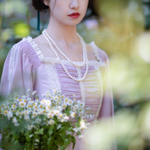 Dress Summer 2020 lilac colour S code (spot), M code (spot), l code (spot) longuette singleton  Long sleeves Sweet square neck High waist Decor Socket Big swing puff sleeve camisole Type A A city full of wind 51% (inclusive) - 70% (inclusive) Lace cotton princess