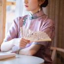 cheongsam Spring 2020 XS (spot), s (spot), m (spot), l (spot) violet Short sleeve long cheongsam Retro Low slit Oblique lapel Decor Piping A city full of wind silk 96% and above