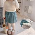 skirt 90cm (Yi Biao 5), 100cm (Yi Biao 7), 110cm (Yi Biao 9), 120cm (Yi Biao 11), 130cm (Yi Biao 13), 140cm (Yi Biao 15) Beige pleated skirt with velvet, blue grey pleated skirt with velvet, warm yellow pleated skirt with velvet, elegant green pleated skirt with velvet Other / other female winter