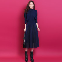 Dress Spring 2021 Black, blue S,M,L,XL,2XL longuette Fake two pieces three quarter sleeve commute stand collar Elastic waist Solid color Socket Big swing Bat sleeve Others Type X lady Splicing, mesh 51% (inclusive) - 70% (inclusive) knitting other