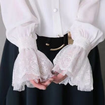 shirt White, black One, two Spring of 2019 polyester fiber 81% (inclusive) - 90% (inclusive) Long sleeves commute Regular Single row multi button Solid color Straight cylinder Korean version M0236 Stitching, lace