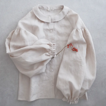 shirt Milky white, red complexion M,XL Summer 2020 cotton 96% and above Long sleeves commute Regular Doll Collar Single row multi button shirt sleeve Solid color Self cultivation m0074 Lace, buttons, stitching, folds