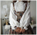 shirt white S,M,L,XL,2XL Autumn of 2019 polyester fiber 96% and above Long sleeves Sweet Regular Polo collar Single row multi button bishop sleeve Solid color 18-24 years old M0410 Ruffle, lace, fold, auricle, button solar system