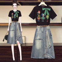 Women's large Summer 2021 Suit, top, skirt Large XL, large XXL, large XXL, large XXXXL, large L Other oversize styles Two piece set commute easy moderate Socket Short sleeve character Korean version Crew neck routine other other JFL4F082P644K8923 25-29 years old Three dimensional decoration