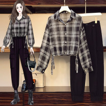 Women's large Spring 2021 Suits, tops, pants Large XL, large XXL, large XXL, large XXXXL, large L trousers Two piece set commute easy moderate Cardigan Long sleeves lattice Korean version routine routine 25-29 years old Button 51% (inclusive) - 70% (inclusive) trousers