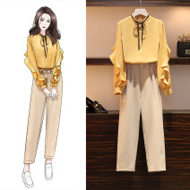 Women's large Spring 2021 Off white, yellow Large XL, large XXL, large XXL, large XXXXL, large L shirt Two piece set commute easy moderate Cardigan Long sleeves Korean version stand collar routine 18-24 years old Asymmetry 81% (inclusive) - 90% (inclusive) Ninth pants