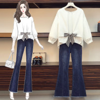Women's large Spring 2021 Single top, dark blue pants, suit Large L [recommended 100-118 kg], large XL [recommended 118-135 kg], large 2XL [recommended 135-155 kg], large 3XL [recommended 155-175 kg], large 4XL [recommended 175-195 kg] trousers Two piece set commute moderate Socket Long sleeves other