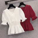 Women's large Summer 2021 White, red Large XL, large XXL, large XXL, large XXXXL, large L shirt singleton  commute Straight cylinder moderate Socket Short sleeve Korean version routine other XJM1FR04P645K4368 25-29 years old Three dimensional decoration 51% (inclusive) - 70% (inclusive)