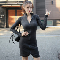 Dress Autumn 2014 grey S,M,L Short skirt singleton  Long sleeves commute V-neck middle-waisted Solid color zipper Pencil skirt routine Breast wrapping 25-29 years old Type X Korean version Stitching, stereo decoration, zipper More than 95% knitting cotton