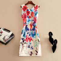 Dress Spring 2020 Decor S,M,L,XL,2XL Mid length dress singleton  Sleeveless street V-neck High waist Decor Socket A-line skirt routine Others Type A printing other other Europe and America