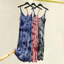 Dress Summer 2020 Black, blue, red M,L,XL,2XL Mid length dress singleton  Sleeveless commute Crew neck High waist other Socket A-line skirt routine camisole Type A Korean version tie-dyed 81% (inclusive) - 90% (inclusive) other modal