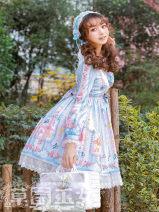 Lolita / soft girl / dress Strawberry witch Dark blue, light blue [model color], orange pink, lavender S,M,L,XL,2XL No season Pre sale Classic, Lolita