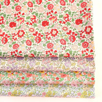 Fabric / fabric / handmade DIY fabric cotton #17334d orange - 146x45cm, # 17345f - red - 146x45cm, # r17345f - Purple - 146x45cm, # r17334d - Green - 146x45cm Loose shear piece Plants and flowers printing and dyeing clothing Japan and South Korea JZ 100% R17345F the republic of korea