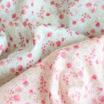 Fabric / fabric / handmade DIY fabric cotton Pink - half size-110x45cm, mint - half size-110x45cm Loose shear piece Plants and flowers printing and dyeing clothing Japan and South Korea cottonvill 100% 986908/986906 the republic of korea