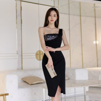 Dress Summer 2021 black S,M,L,XL Middle-skirt singleton  Sleeveless commute One word collar High waist Solid color zipper One pace skirt routine Others 25-29 years old Type X Korean version Stitching, sequins 81% (inclusive) - 90% (inclusive) other polyester fiber