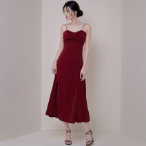 Dress Summer 2020 claret S,M,L,XL longuette singleton  Sleeveless commute V-neck High waist Solid color zipper One pace skirt routine 25-29 years old Korean version Bows, bright silk, folds other polyester fiber