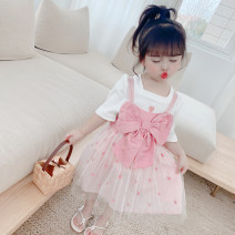 suit Other / other Short sleeve + suspender skirt 80cm,90cm,100cm,110cm,120cm,130cm female summer princess Short sleeve + skirt 2 pieces Thin money There are models in the real shooting Socket nothing Solid color other children Expression of love Other 100% Chinese Mainland Zhejiang Province Hangzhou