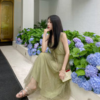 Dress Summer 2020 Matcha color S, M Mid length dress singleton  Sleeveless commute square neck High waist Solid color Socket A-line skirt routine camisole 25-29 years old Korean version Sequins zg20295 More than 95% polyester fiber