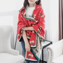 Scarf / silk scarf / Shawl Pashmina  Black Beige big red rice Grey Pink Navy Red Spring and autumn and winter female Shawl keep warm Korean version rectangle Young and middle aged Plants and flowers two-sided 62cm 191cm More than 96% Fragrant silk into the cabinet YW cherry shawl