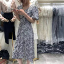 Dress Summer 2021 Black, black and white, blue M, L longuette singleton  Short sleeve commute V-neck High waist Decor Socket A-line skirt puff sleeve Others 25-29 years old Type A Korean version 51% (inclusive) - 70% (inclusive) Chiffon other