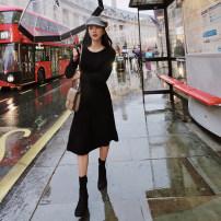 Dress Winter of 2018 Black (stock) S, M Mid length dress singleton  Long sleeves commute Crew neck routine Type X Retro