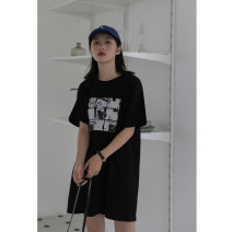 Dress Summer of 2019 black S,M,L Mid length dress singleton  Short sleeve commute Crew neck Loose waist other Socket other routine Others 18-24 years old Type H Other / other Simplicity 81% (inclusive) - 90% (inclusive) cotton