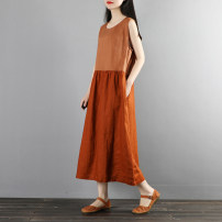 Dress Summer 2020 Average size longuette singleton  Sleeveless commute Crew neck Loose waist Solid color Socket A-line skirt routine Others 25-29 years old Type A Other / other Retro 51% (inclusive) - 70% (inclusive) other hemp