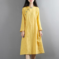 Dress Autumn of 2019 White, pink, lemon yellow, light blue Average size Mid length dress singleton  Long sleeves commute stand collar Loose waist Solid color Socket A-line skirt routine 25-29 years old Retro Button 71% (inclusive) - 80% (inclusive) other hemp