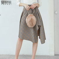 skirt Autumn of 2019 S M L Gag Middle-skirt Versatile Natural waist Irregular lattice Type A 25-29 years old KC3Q14465M More than 95% other Pupufeng polyester fiber Polyester 98% polyurethane elastic fiber (spandex) 2% Same model in shopping mall (sold online and offline)