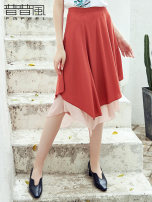skirt Summer of 2019 S M L gules Mid length dress grace High waist Irregular Solid color Type A 25-29 years old KB2Q13871L More than 95% Pupufeng other Regenerated cellulose fiber 100% Same model in shopping mall (sold online and offline)