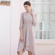 Dress Spring 2020 coffee S M L Middle-skirt singleton  elbow sleeve commute Crew neck low-waisted other other Others 25-29 years old Pupufeng LA2L15019L More than 95% polyester fiber Polyester 100% Same model in shopping mall (sold online and offline)