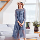 Dress Spring of 2019 Black blue S M L Mid length dress singleton  Nine point sleeve commute Crew neck High waist Solid color Socket Big swing routine Others 30-34 years old Pupufeng lady Lace KA1L13645L More than 95% Lace polyester fiber Polyester 97.4% polyamide 2.6%