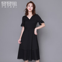 Dress Autumn of 2019 black S M L Mid length dress singleton  Short sleeve commute V-neck middle-waisted Solid color Socket Big swing other Others 25-29 years old Type A Pupufeng lady KC1L14212S More than 95% other cotton Cotton 100% Same model in shopping mall (sold online and offline)